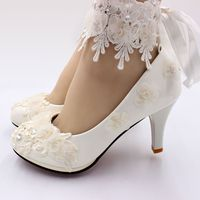 Ivory lace flowers women shoes handmade elegant satin riband tassel lace  straps bridal wedding shoes bride 7b9f2dccb47b