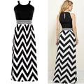 La más nueva manera sexy patchwork correa de espagueti de rayas geométricas long summer dress casual vestidos j1022