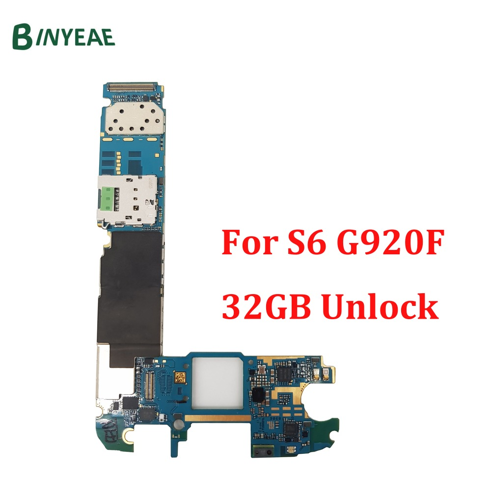 BINYEAE Replacement Mainboard For Samsung Galaxy S6 G920F Motherboard 100% Test Good Working Unlock 32GB