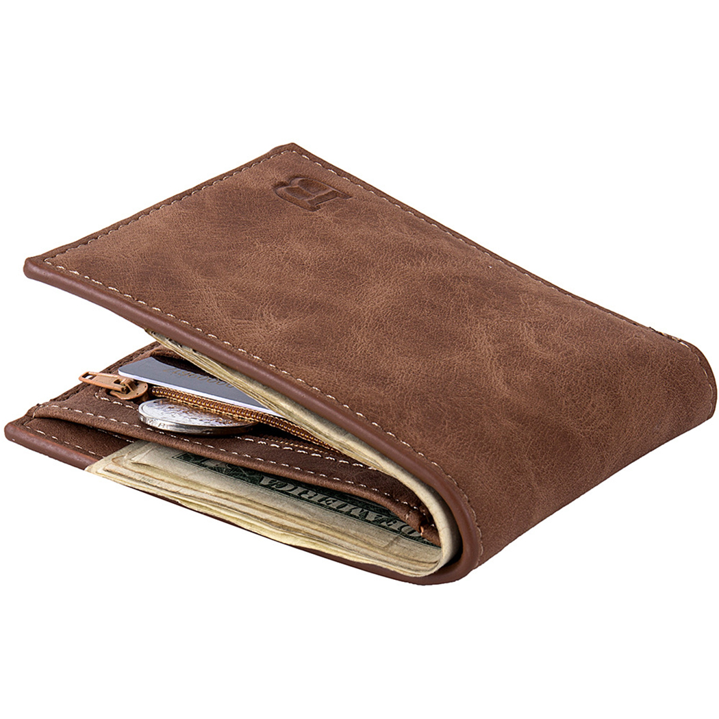 Pocciol Leather Wallets Men Handmade Stylish Bifold Business ID Card Holder Pocket