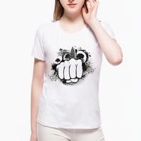 2017 Hand 2D Print T Shirt Fashion Graphic Tees Women Designer Clothing Fashion Junior Punk Rock