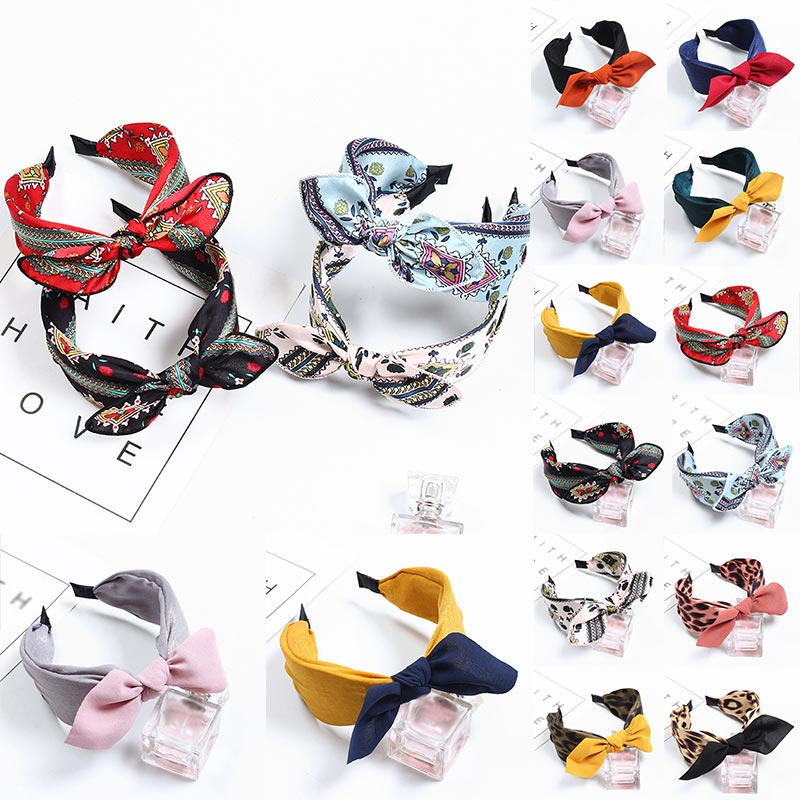 Dot Printing Stripe Wide Headband Women Bow Hairband Hair Hoop Hair Accessories