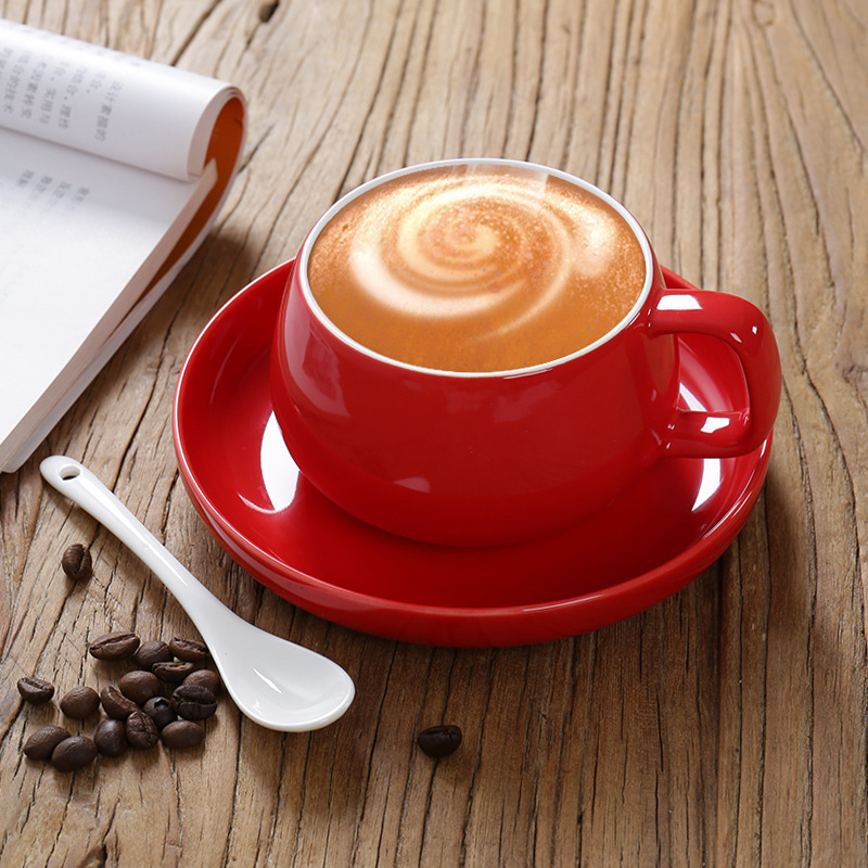 Ceramic Cup European Coffee Cup with Saucer Spoon LOGO Custom Made High-end Gift Cup Office Water Cup