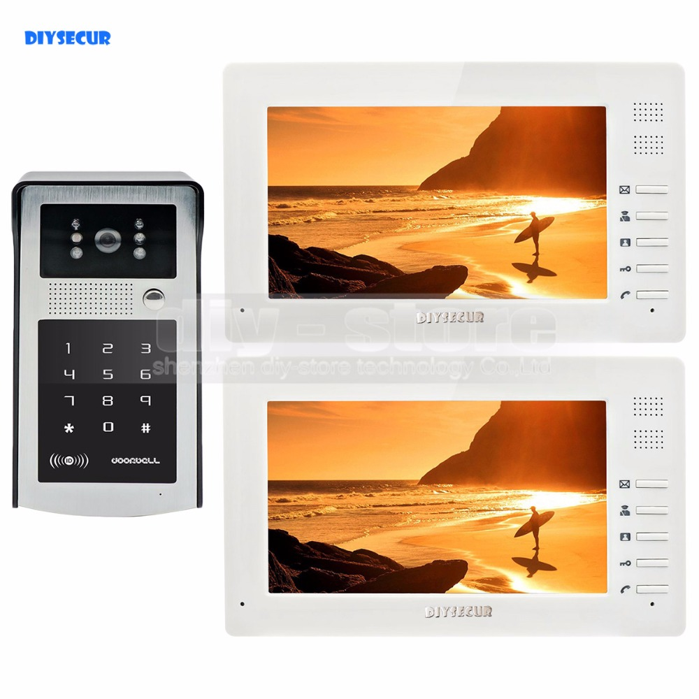 1024 x 600 7 inch HD TFT LCD Monitor Video Door Phone Video Intercom Doorbell 300000 Pixels Night Vision Camera RFID + Password 7 inch video doorbell tft lcd hd screen wired video doorphone for villa one monitor with one metal outdoor unit rfid card panel