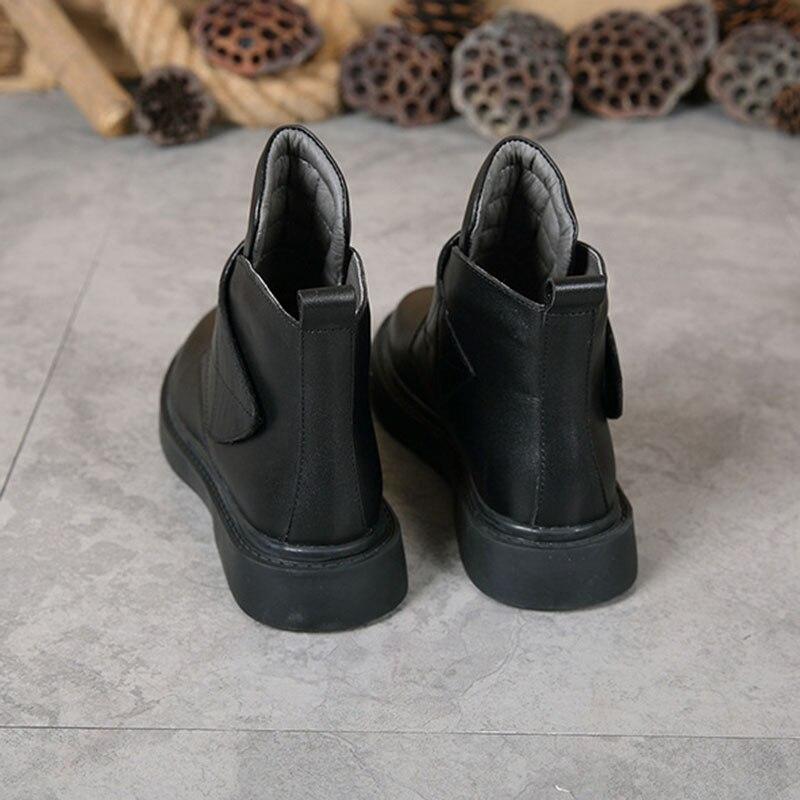 otoño Cuero Fsj01 Primavera Zapatos 2019 Retro La Sólido Gancho Bucle Fsj Mujer Tobillo Vaca De Invierno Genuino Botas OFqxTw1E