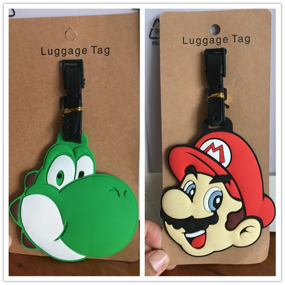 Super Mario Bros cartoon PVC cosplay Key chain creative soft rubber luggage tag boarding pass bag tags hanging ornaments bags