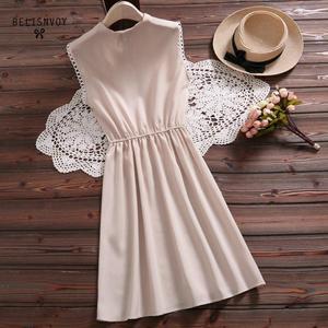 Image 4 - 2019 New Mori Girl Vintage Summer Women Dress Bowknot Sweet Cotton Linen Vestidos De Festa Sleeveless Plaid Robe Femme Sundress