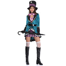 Halloween Women's Alice Mad Hat Adult Magician Performance Costume Nightclub Animal Trainer Stage Performance Costume magician s gambit