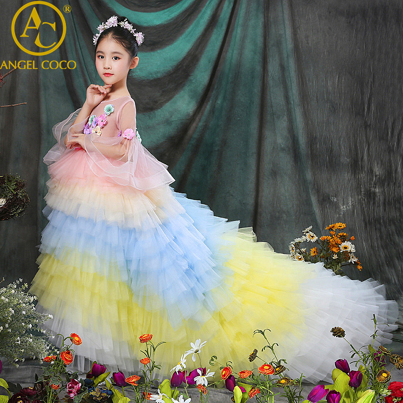 Luxury Rainbow Princess Dress Flower Children Wedding Gown Long-Sleeved Beauty Pageant Tail Stage Costumes Girl Party Dress 2018 wholesale boy girl floral beauty skullies colored rhinestone flower style luxury winter hats for children 3 12 year kid beanies