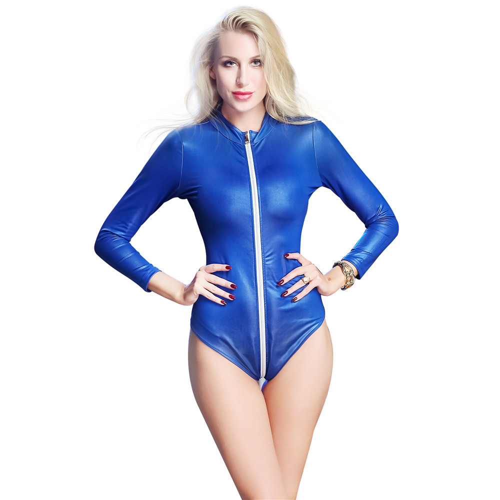 Buy Patent leather Long sleeves Cardigan zipper Tighten open crotch bodysuit sexy lingerie porno bodystocking latex catsuit leather