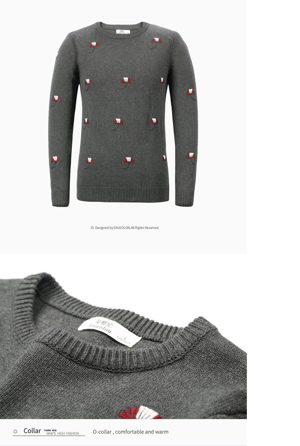 HTB1Ah1JdzoIL1JjSZFyq6zFBpXaP - Enjeolon brand top fall winter warm knitted pullovers Sweater man 100 Cotton pattern pullober o-neck pullover Sweater men MY3227