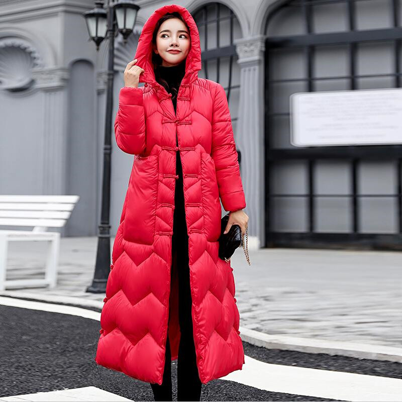 Winter Casual Warm Wave Striped Hooded Long Down   Parkas   With Buttons Women Maxi Thicken Jacket Winter Jacket Coat Female 2019