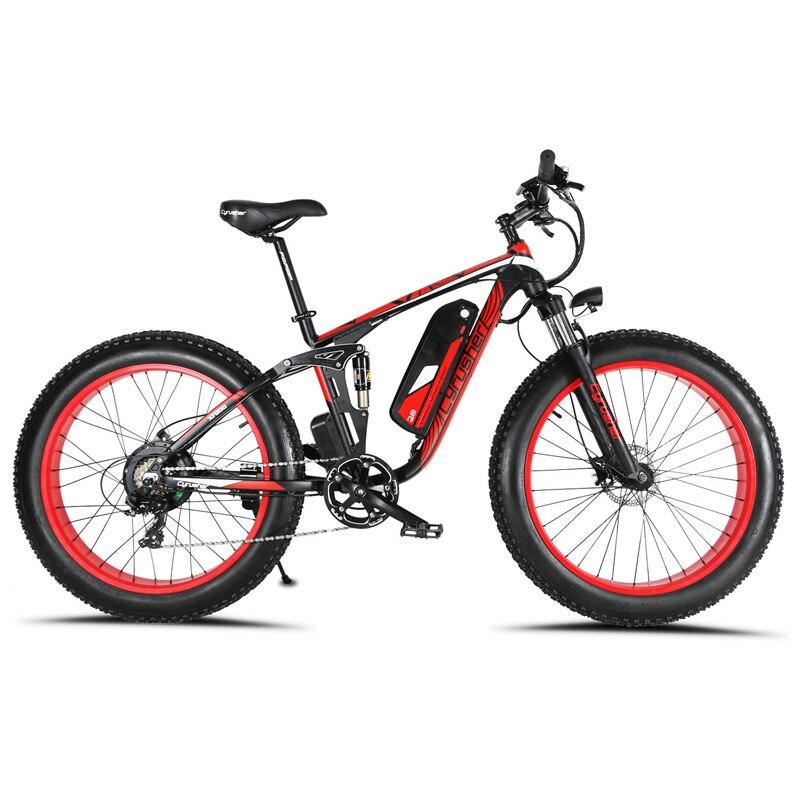 Cyrusher XF800 1000 W 48 V Bicicleta Elétrica 7 Velocidades quadro Suspensão Total bicicleta eletrônico Inteligente Computador LCD odômetro
