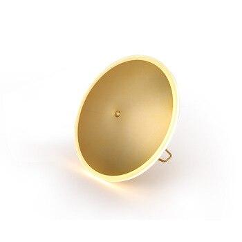 D30cm Kunst Dekorative gold kupfer warme weiß 3000 karat 12 watt LED tisch lampe licht 110 v 240 v nacht schlafzimmer gold LED runde schreibtisch lampe