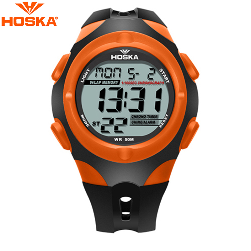 HOSKA High Quality 50M Waterproof LED Digital Wrist Watch Fashion Leisure Design Black Orange Sports Watches