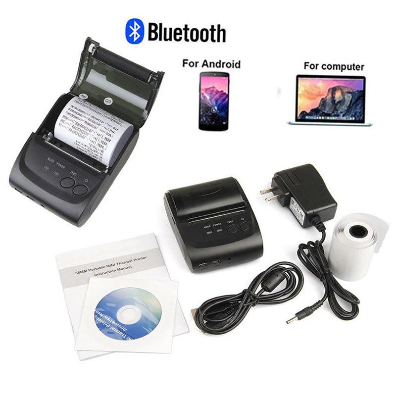 TCAM NOUS/EU Portable Mini 58mm Sans Fil Bluetooth Imprimante Thermique Pour Android Mobile