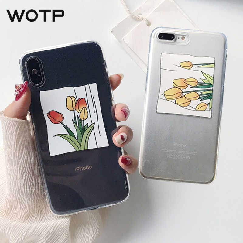 finest selection 13375 c2436 WOTP Tulip illustration Flowers Phone Case For iphone 6 6S 7 8 Plus X XS  Max XR Fashion Art Clear Case Cartoon Soft Back Cover