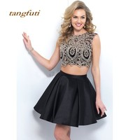 Black Cocktail Dresses Short Lace Party Two 2 Piece Homecoming Graduation Women Prom Cocktail Party Mini Semi Formal Dress 2019