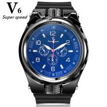 Homens V6 grande mostrador do relógio de quartzo de aço inoxidável de alta qualidade bem legal silicone strap moda casual relógios esportivos da marca