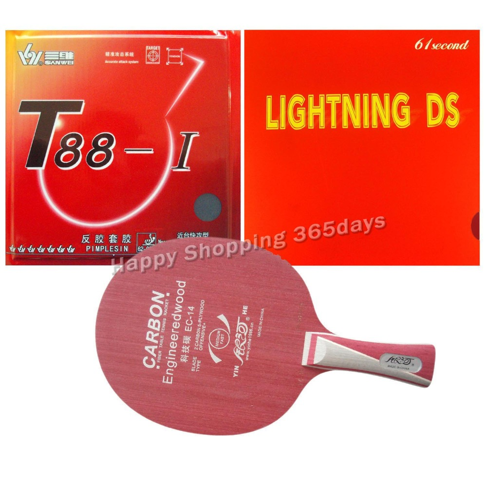 Milky Way EC-14 blade + Sanwei T88-I and 61second Lightning DS rubber sponge for a table tennis racket Long Shakehand FL a long way gone