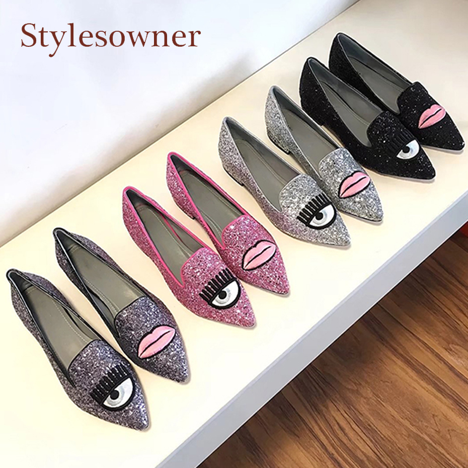 Stylesowner bling bling pink silver bead glitter big eyes women shoes pointed toe slip on shallow loafers casual shoes flats women ladies flats vintage pu leather loafers pointed toe silver metal design