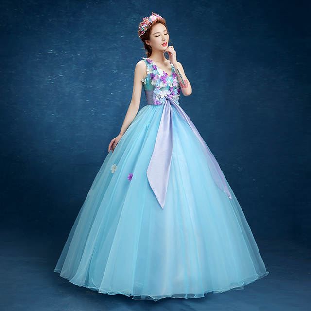 a73db462a01cc ABULE Quinceanera Dresses srtapless lace up blue ball gown prom dress v  neck flowers Gown 15 Years Layer Tulle Custom sizes