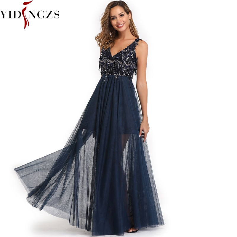 YIDINGZS 2019 Elegant V-neck Tassel Tulle   Bridesmaid     Dress   Sleeveless Long Wedding Party   Dress