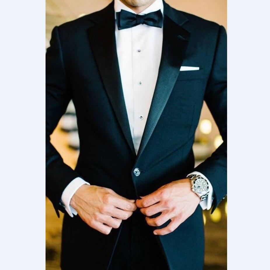 Custom Made Groomsmen Notch Satin Lapel Groom Tuxedos Black Men Suits Wedding Best Man (Jacket+Pants+Tie+Hankerchief) B859
