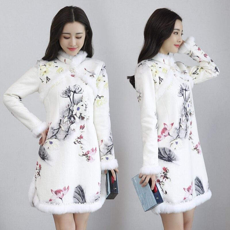 2019 ฤดูใบไม้ร่วงและฤดูหนาว lamb ขนสัตว์และขนสัตว์หนา qipao,จีนแห่งชาติลมกำมะหยี่ qipao-ใน ชุดเดรส จาก เสื้อผ้าสตรี บน   1