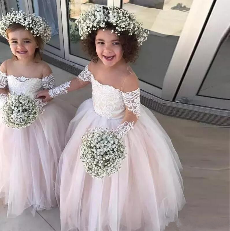 2019 Princess Ball Gown Flower Girls Dresses Sheer Neck Long Sleeves Appliques Lace Wedding Party Dress Baby Girls Birthday Gown цена