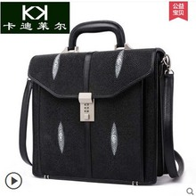Kadiler pearl skin new men's handbags with combination lock leather men bags leisure business briefcases