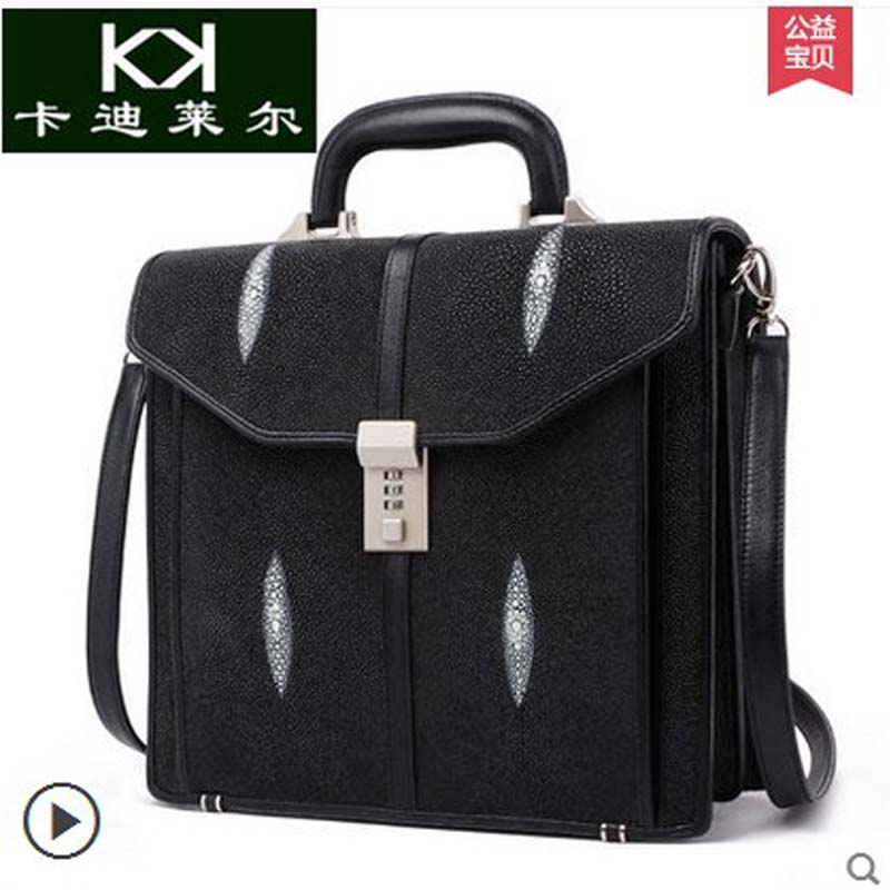 Kadiler pearl skin new mens handbags with combination lock leather men bags leisure business briefcases