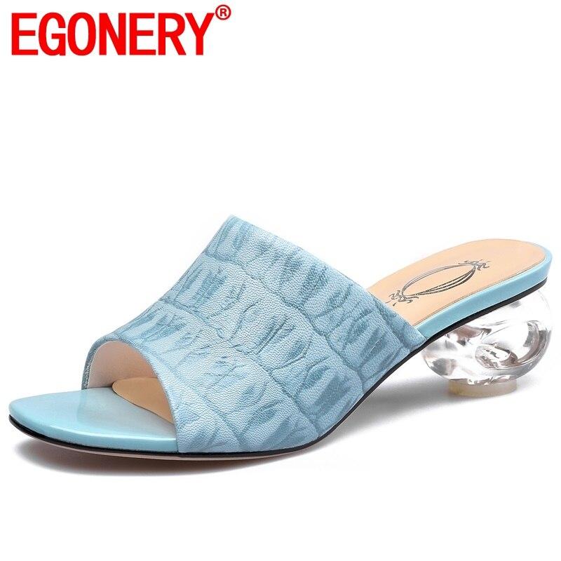 EGONERY sheepskin print slides women slippers summer blue sandals 4 5cm med crystal heels genuine cow