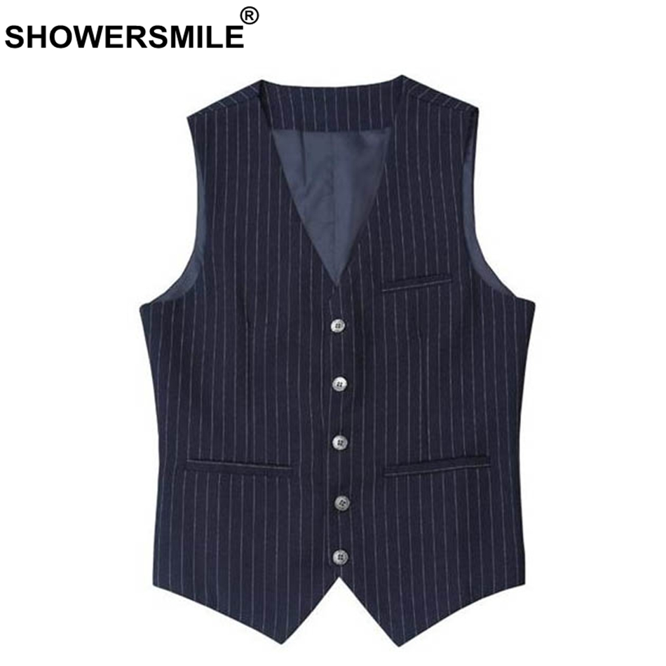 SHOWERSMILE Stripe Slim Fit Suit Vest Men Blue Smart Casual Dress Vests Male British Sty ...