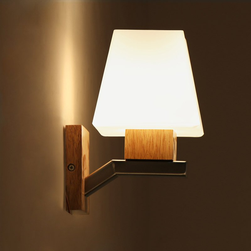 Wooden Balcony Wall Lights Modern Aisle Glass Mushroom Living Room Bedroom Wall Lamps Bedside Corridor Wall Lighting Fixtures bedside wooden wall lamp wood glass aisle wall lights lighting for living room modern wall sconce lights aplique de la pared