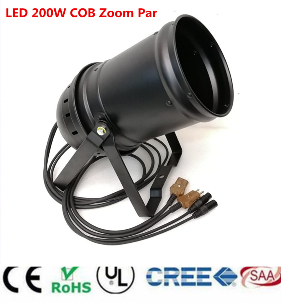 LED ZOOM 15- 50 Degree 200W COB LED Par Light 3200K-7500K Warm White White/ Warm White White 2in1 Stage Disco Light DMX Par 64 200w led follow spot light warm white cool white 2in1 rgbw 4in1 zoom dmx512 stage led profile light