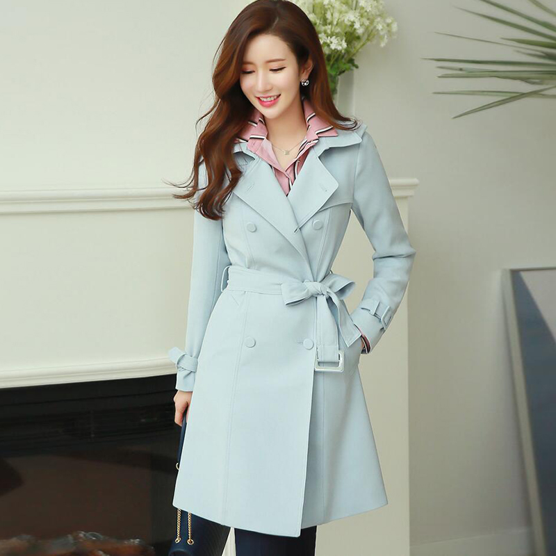 2017 spring and autumn women trench medium-long  double breasted trench female long-sleeve plus size outerwear