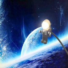 New Arrival Cool New Astronaut Spaceman USB LED Adjustable Night Light For Computer PC Lamp Desk Light Pure White(China)