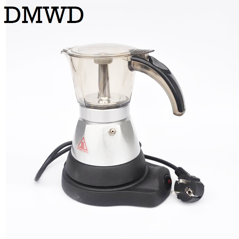 DMWD Electric Aluminum Stove Top Coffee Maker Automatic Heating Mini Espresso Percolator Pot Moka Espresso Coffee