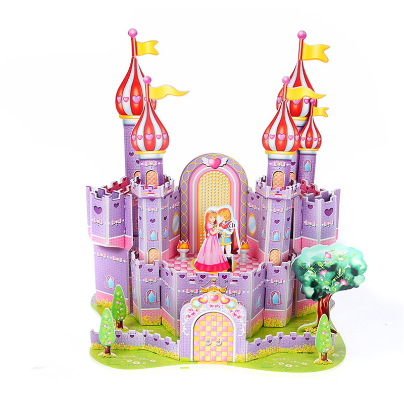 3D Puzzle Diy Games And Puzzles Model Building Safe Foam Purple Castle Prince And Princess Palace Girl Toys For Children
