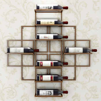 8 ขวดยุโรปโมเดิร์นติดผนังไวน์ Rack Creative แขวนไวน์สนับสนุนสีแดงตกแต่งไวน์ Rack ไวน์ผู้ถือ