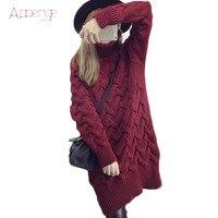 APOENGE 2017 autumn turtleneck twist sweater dress winter keep warm thicker long dress korean knitted dress jurkjes LZ277