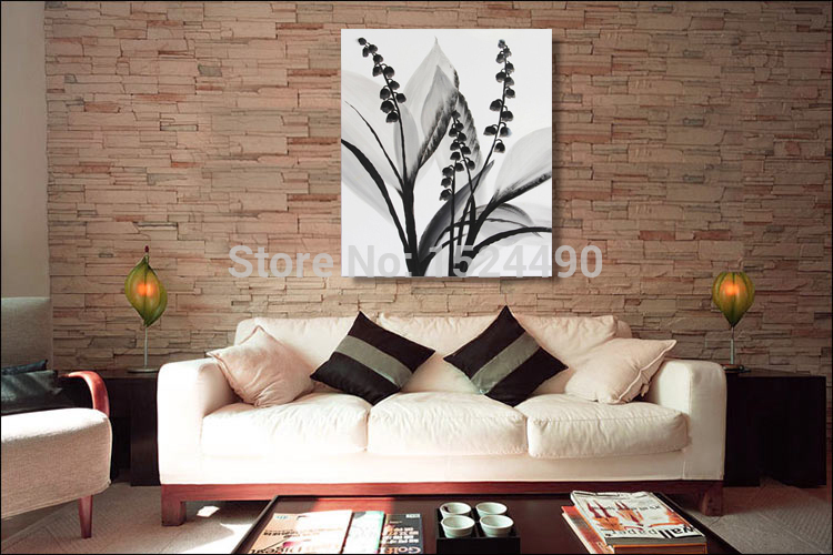 100% Hand Painted Modern Black White Flower Oil Painting On Canvas Wall Art  Picture For Home U0026 Hotel Decor In Painting U0026 Calligraphy From Home U0026 Garden  On ...