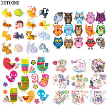 ZOTOONE Cute Cartoon Animal Sets Applique Iron on Patches for Clothing Cat Dog Bird Heat Transfers Clothes DIY Kids Shirt E