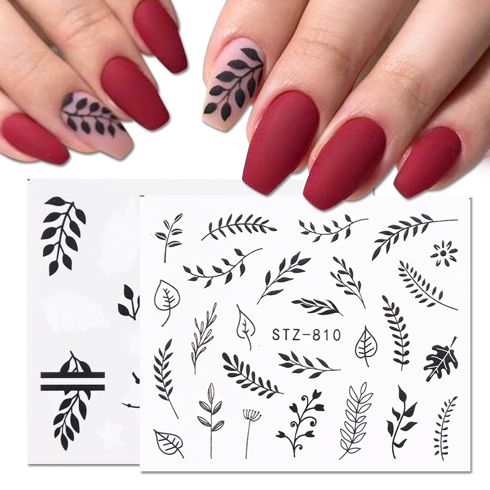 1 Sheet Black White Leaf Nail Art Sticker Slider Flower Water Decals Decor Watermark Tattoo Manicure Accessories LASTZ808-815(China)