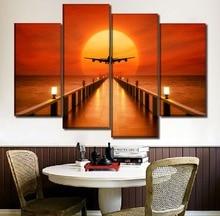 캔버스 그림 홈 장식 프레임 4 조각 / 1 PC 호라이즌 선셋 풍경 비행기 포스터 인쇄 거실 벽 아트