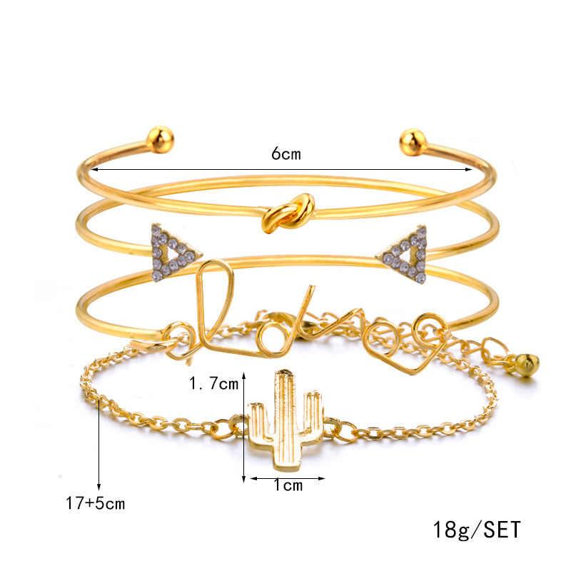 BeUrSelf サボテンブレスレット & バングルセットファム薄型チェーンノット愛トライアングルチャームブレスレット女性ゴールドカラージュエリー 4 ピース/セット