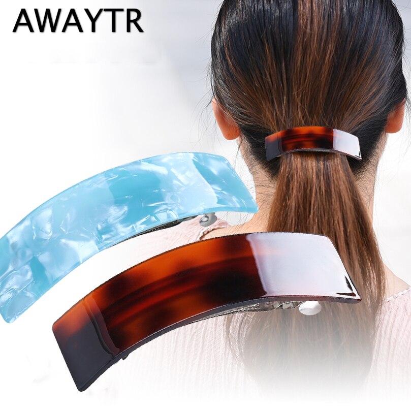 AWAYTR 1PC Random Color Simple Korean Hair Clips Women Headwear Hair Barrette Ponytail Holder Cute Hair Accessories for Women