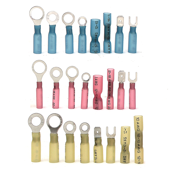 250Pcs Heat Shrink Wire Connector Waterproof Seal Cable Wire Terminals Kit Solder Sleeve Assorted Automotive Crimp Terminals Set