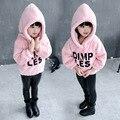 Девушки капюшоном толстовка 2016 дети девушки толстовки осень флиса капюшоном дети длинный рукав куртки Moleton пальто